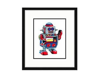 Robot art for kids Robot drawing Toy robot art print Robot print Robot nursery art Robot children's art Cute robot Robot wall art Toy art