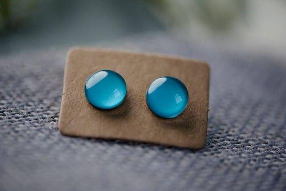 Cornflower Blue Glass Earrings - Surgical Steel Hypoallergenic Green Studs - Free Postage Sensitive Earrings