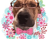 Pit Bull Art, Pit Bull Artwork, Pitbull Art, Pitbull Artwork, Bulldog Art, American Bulldog Art, Dog Art, Colorful Dog Art