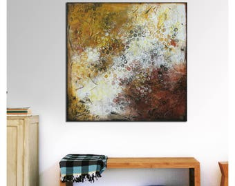 """35.5"""" Original Painting- Ready to Hang- Canvas Square- Natural Brown and White- Abstract Wall Art-Living Room Decor- Ronald Hunter"""