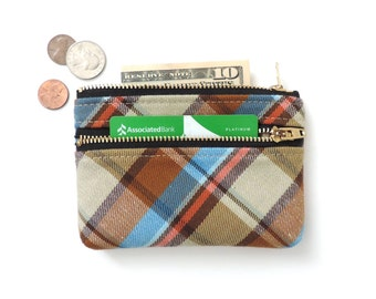 Plaid Wallet Coin Purse Double Zipper Pouch