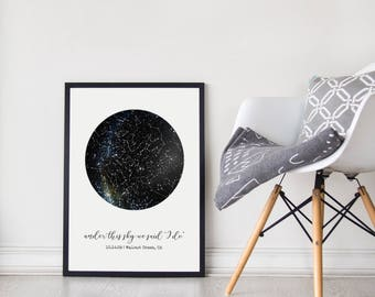Custom Constellation Map Unframed Poster, Under This Sky Poster, First Anniversary Paper Gift, Mother's Day Gift, Romantic Gift