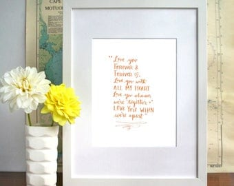 ORANGE Beatles lyric I Will Romantic Calligraphy art print Quote - DOWNLOAD