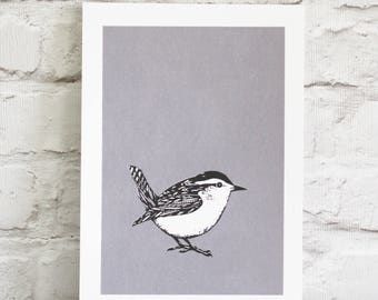 winter wren screen print - hand printed bird - A4 print in soft grey and black