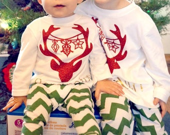 KIDS CHRISTMAS SHIRT - kids christmas tee - kids custom holiday shirt - babies first christmas - kids custom christmas tee - reindeer