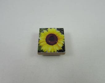 Sunflower Needle Minder from Designs by Lisa, made from upcycled scrabble tiles. Useful needlework accessory and makes a great gift too!