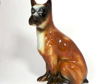 Vintage Boxer Dog figure large sitting canine figurine  ceramic made in Brazil  6.5 inches
