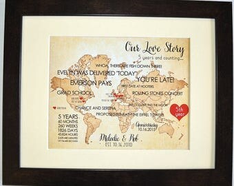 50 year anniversary, personalized gift, our life story, important dates map, marriage, love stats modern art custom vintage print