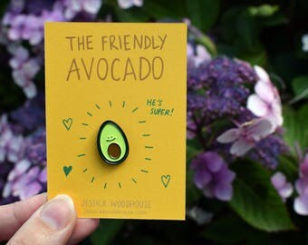The Friendly Avocado Pin Badge / Soft Enamel