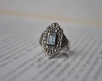 Vintage Sterling & Marcasite Ring - 1970s Art Deco Style Sterling Ring