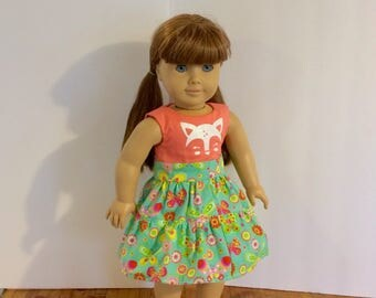 "American girl doll dresses. Handmade to fit 18"" dolls. Deer face decal dress. Coral and mint print."
