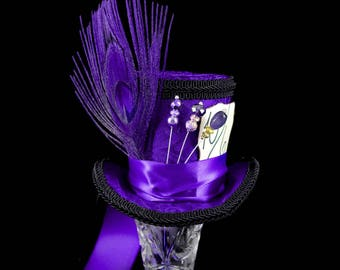 Purple and Black Mad Hatter Style Medium Mini Top Hat Fascinator, Alice in Wonderland Mad Hatter Tea Party, Derby Hat