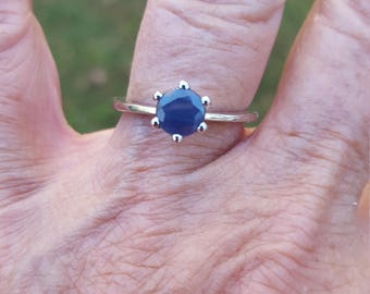 sapphire ring size 7 1/4 1980's genuine natural UNHEATED UNTREATED blue sapphire solitaire estate vintage sterling ring