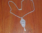 Vintage 3mm Silvertone 26 Inch Rolo Chain Necklace w/ Celtic Knot Pendant Signed Monet