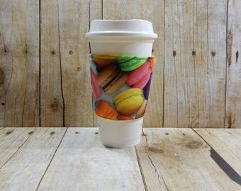 Fabric Coffee Cozy / Macaroons Coffee Cozy / Food Coffee Cozy / Coffee Cozy / Tea Cozy