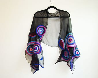 Fashion Women Wrap Shawl Pashmina Scarf Black Blue Felted Handmade Wool Shawl OOAK