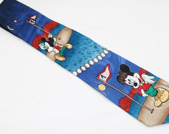 """Rare 90's Vintage """"MICKEY UNLIMITED"""" Silk Abstract Patterned Tie"""