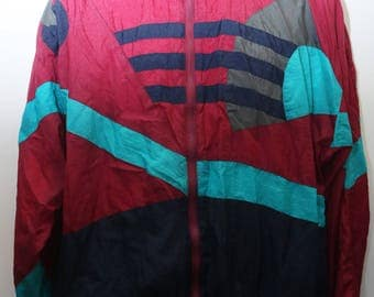 "Rare 90's Vintage ""AVIAT SPORTIF"" Colorblocked Windbreaker Jacket Sz: LARGE (Men's Exclusive)"