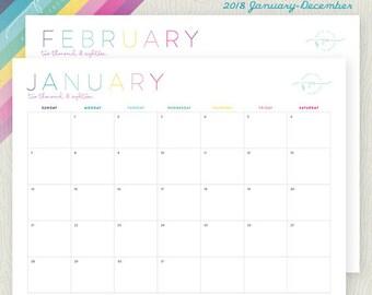 Printable Monthly Calendar 2018 | Landscape | DIY monthly home organization: Instant Download
