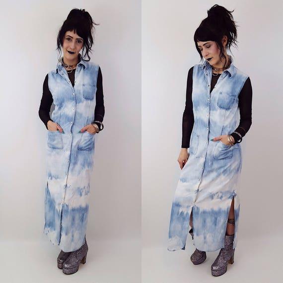 Hand Bleached Denim Shirt Dress - Medium Bleach Tie Dye Jean Maxi Layer -Light Blue Wash Bleach Layering Jacket - Button Up Long Shirtdress