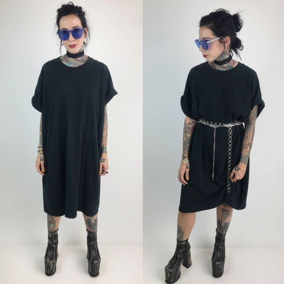 90's Long Black Tee Shirt Dress 3XL Big & Tall Shirt - Slouchy Black Tee Vintage Baggy Slouchy Plain Basic Back Cotton Plus Size Tee Shirt
