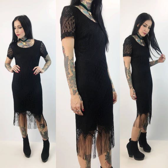 90's Black Lace Overlay Midi Dress Size With Fringe Trim Small 2-4 - Fringe Bohemian Sexy Midi Dress - Festival Boho Date Dress Black Lace