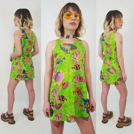 90's Underwater Mini Dress Extra Small - Lime Green Sleeveless Tank Sun Dress Women XXS - Undersea Nautical Summer Tiny Fit Sundress