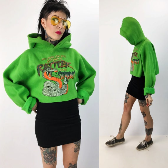 Cropped Neon Green Graphic Sweatshirt Large  - Rattle Snake Pullover Cropped Hoodie - Baggy Slouchy Long Sleeve Sweatshirt Snake Graphic