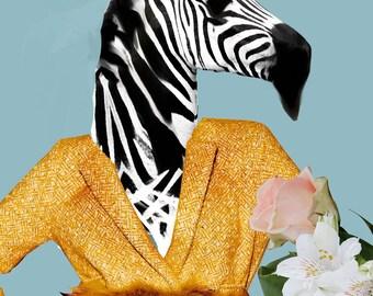 Zebra Collage - Anthropomorphic Art - Fine Art Collage Print - Vintage Retro  HagaraStuff