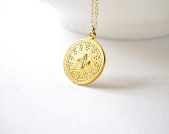 Gold Round Cross Pendant, Popular Large Medallion Necklace, Silver Medallion Necklace, Large Gold Disc, Boho Jewelry, Modern, Everyday Cross