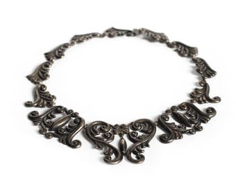 Vintage Gerardo Lopez Winged Heart Repoussé Pectoral Necklace - Taxco Mexico 980 Silver Collar Armor Jewelry