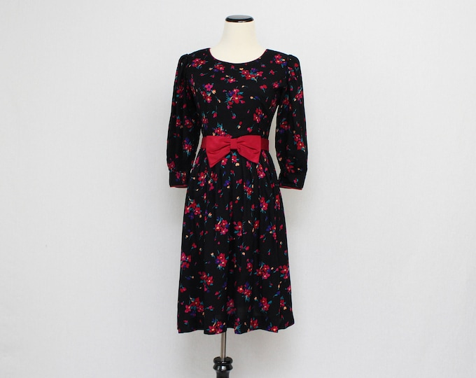 Vintage 1960s Black Floral Print Bow Dress - Size Small