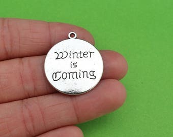 2 Reversible Winter is Coming Direwolf Game of Thrones Stark Winterfell Charms