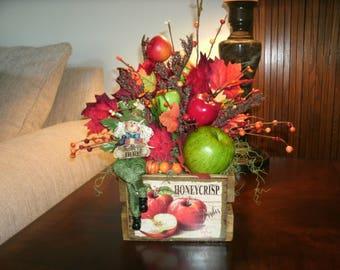 Seasonal, Fall Crate Floral Arrangement, Scarecrow Centerpiece, Fall Apple Harvest, Thanksgiving, Holiday Decor, Home Decor, Office Decor,
