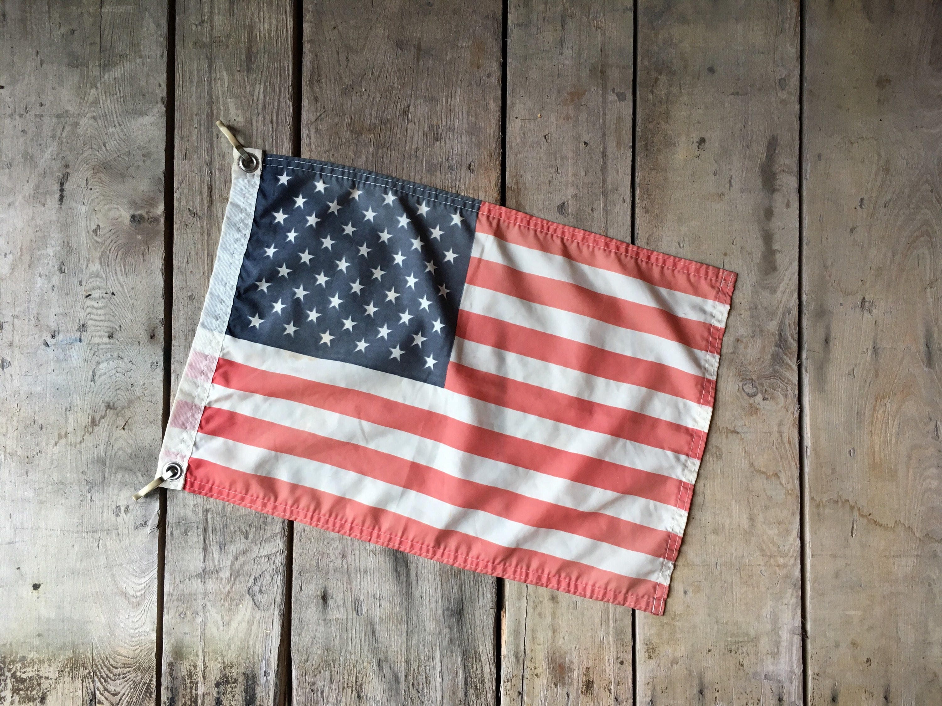 Vintage American Flag Boat US Yacht Stars And Stripes Americana Decor