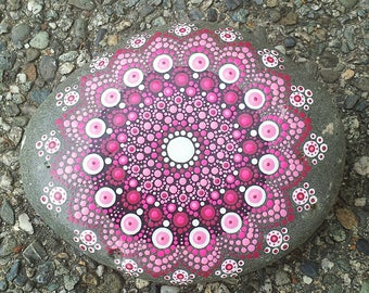 Hand Painted Pink Breast Cancer Awareness Mandala Rock
