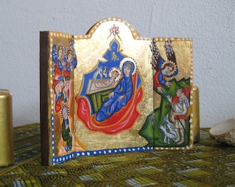 Folk naive Xmas triptych Nativity of Christ painting for Christmas, armenian art handpainted gift- Holy family icon