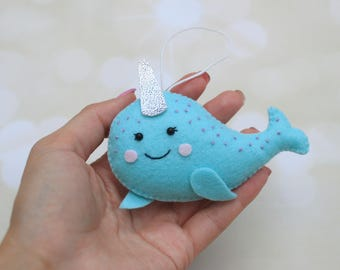 Felt Narwhal ornament whale plush Stuffed Narwhal decoration Narwhal plush miniature Narwhal figurine stuffed whale ornament Narwhal toy