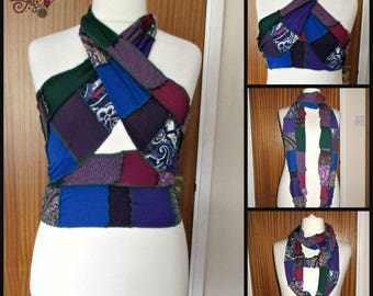 Patchwork upcycled wrap top purple blue green burgundy hippie infinity scarf boho festival halter neck loop unusual burning man free size