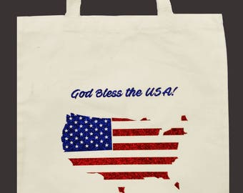 U.S.A. Sparkly Tote Bag - Perfect for patriotic holidays & events!