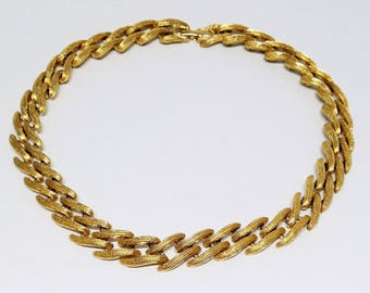 Vintage Monet Choker Necklace, Signed Gold Tone Costume Jewelry, Gifts, Valentines Gift, Women's Jewelry