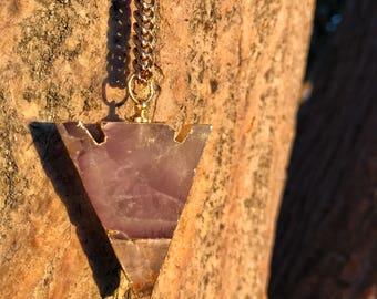 AMETHYST Arrowhead Necklace on Antique Gold Chain | Natural Polished Purple Amethyst Arrow Pendant, Unisex Crystal Healing Quartz Necklace