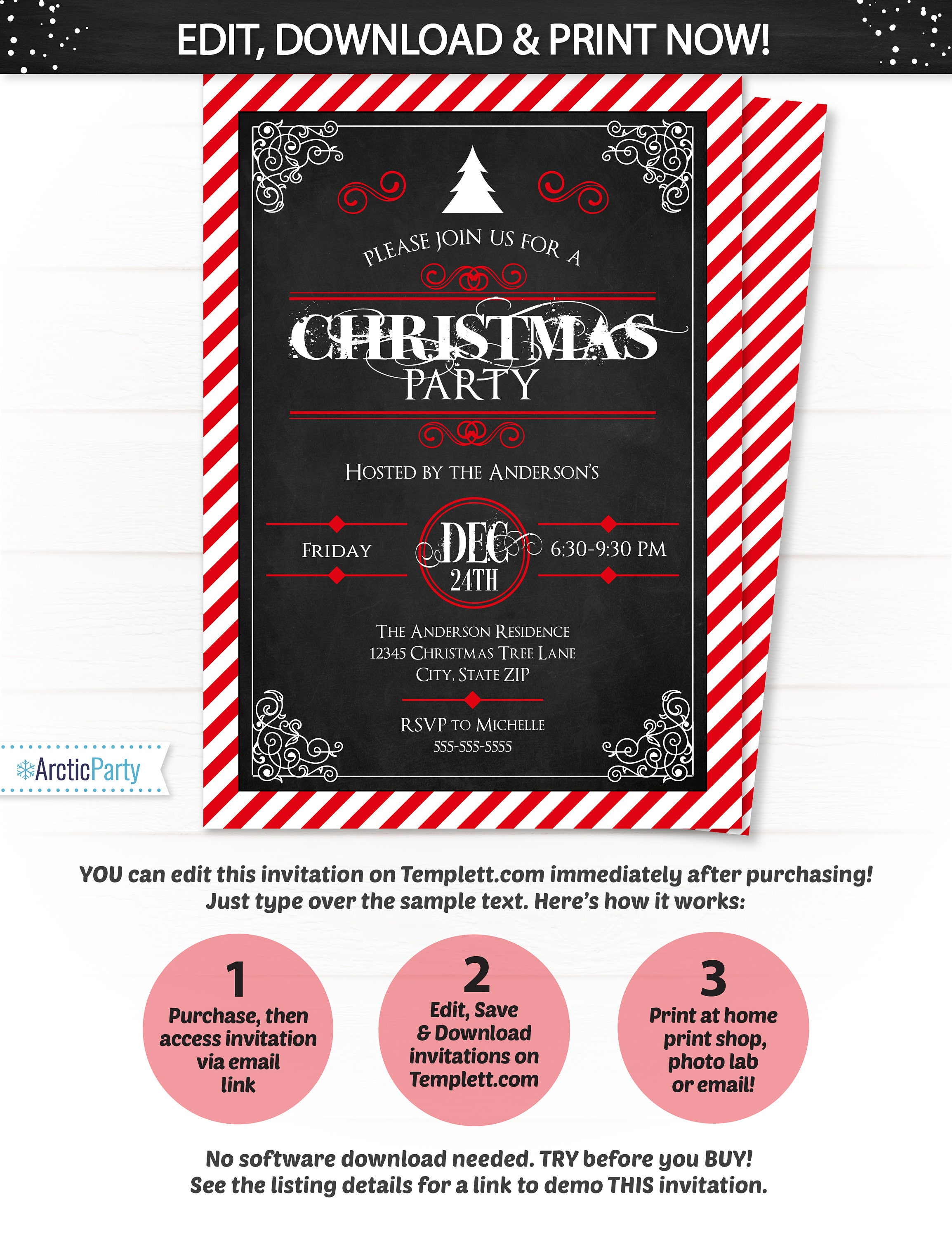 Christmas Invitations - Christmas Party Invitation - Holiday Party ...