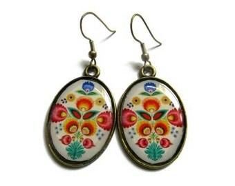 OVAL EARRINGS - drop earrings - Boho earrings - bohemian earrings - Woodland Earrings - Flower Earrings - floral earrings - Vintage Style