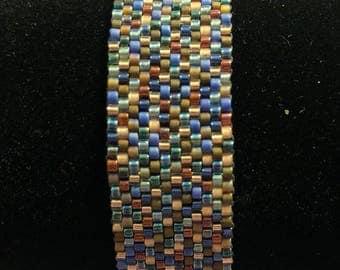 Purple and Blue Mix Beaded Peyote Bracelet