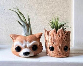Groot inspired planter gift set, baby Groot, Rocket the raccoon