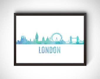 London digital prints, London printable, prints, London poster, London wall art, city poster, printable instant download, travel gift,london
