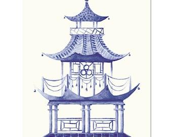 Blue Pagoda Watercolor Art Print
