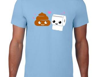 Kawaii Tshirt, Cute Poop & Toilet Paper Tee, Funny TShirt, Ringspun Cotton, Kawaii Poop T Shirt, Funny T Shirt, Mens Plus Size