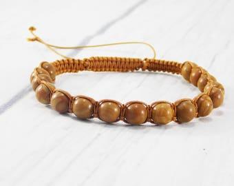 Wood Lace Stone bracelet wooden bracelet wood bracelet beaded bracelet for men wooden jewelry tribal bracelet round bracelet brown bracelet